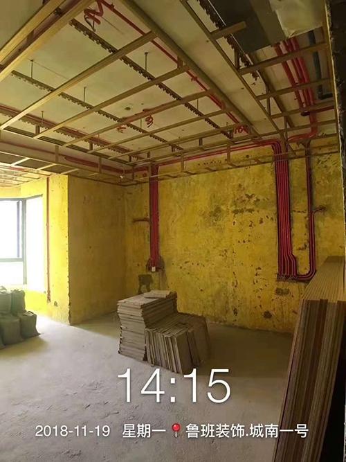 成都城南一号大平层装修施工现场照片 鲁班装饰公司在建工地