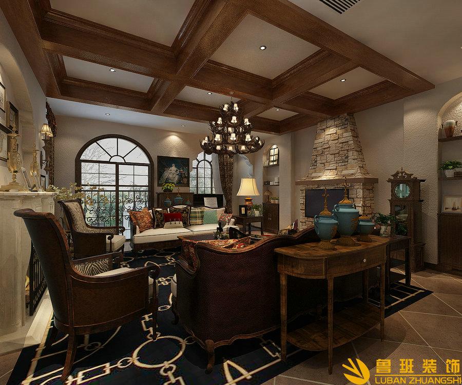 成都鲁班装饰公司高端别墅设计工作室税华设计师作品,美式风格别墅设计效果图